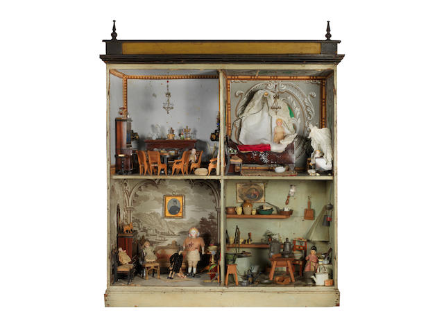 Dolls house with contents, European, circa 1875