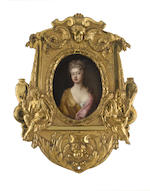 Follower of Sir Godfrey Kneller (British, 1646-1723) A Lady, said to be Sarah Churchill, Duchess of Marlborough (1660-1744), wearing golden robe over white chemise, her pink mantle draped over her left shoulder and her fair hair loosely curled and upswept
