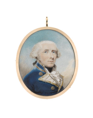 Philip Jean (British, 1755-1802) Admiral Skeffington Lutwidge (1737-1814), wearing blue coat with white facings edged with gold, white waistcoat, frilled chemise and black stock, his white hair tied with black ribbon