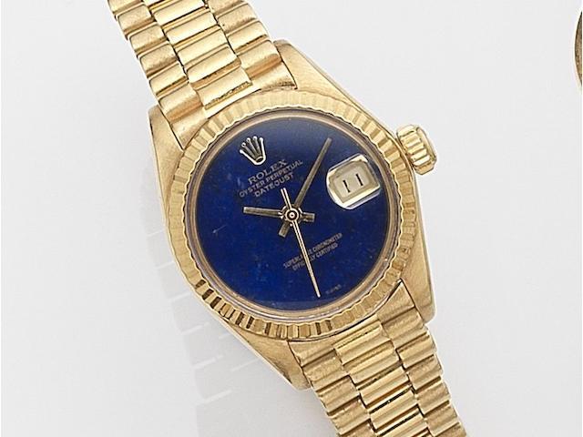 Rolex. A lady's 18ct gold automatic calendar bracelet watch Datejust, Ref:6917, Serial No.639****, Movement No.841***, Circa 1979
