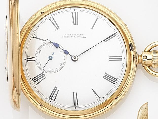 E. Beckman, London & Sydney. An 18ct gold keyless wind half hunter pocket watch with split seconds Case & Movement No.3665, London Hallmark for 1861