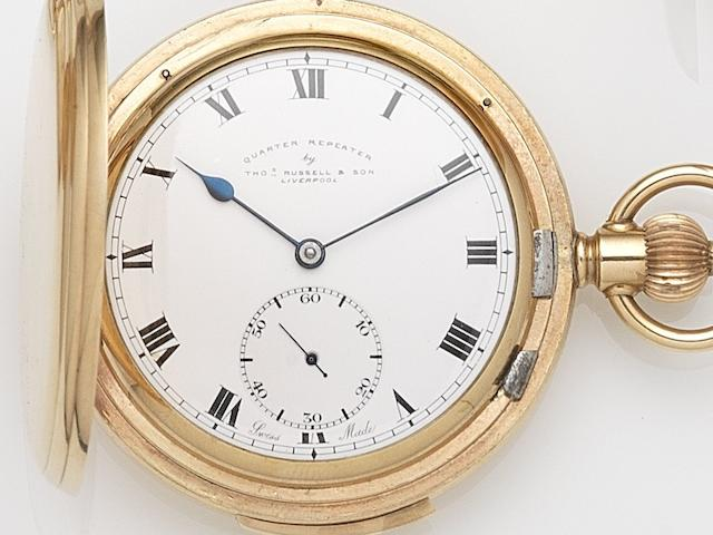 Thomas Russell & Son, Liverpool. A gold plated keyless wind full hunter quarter repeating pocket watch  Case & Cuvette No.4991387, Movement No.262929/65448, Circa 1900