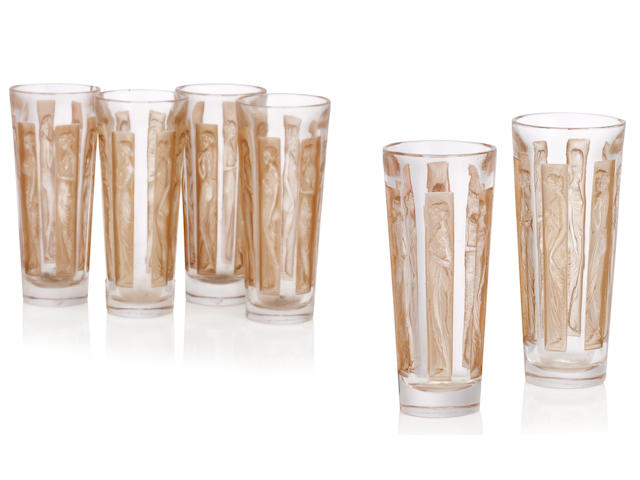 a Cased set of six Lalique 'six figurines' glasses Circa 1911