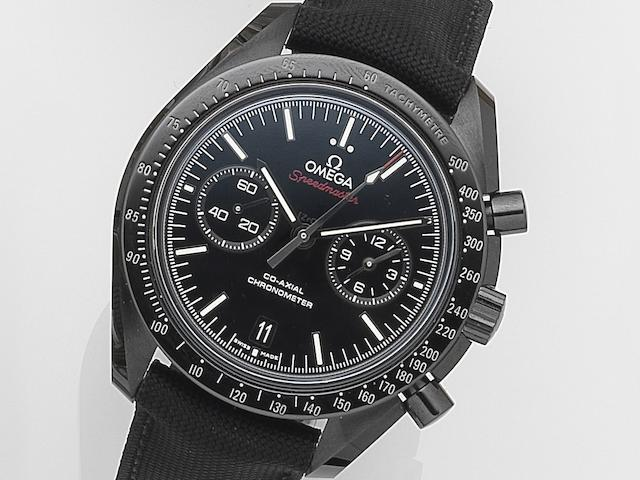 Omega. A black ceramic automatic calendar chronograph wristwatch Speedmaster Dark Side of the Moon, Movement No.85898192, Recent