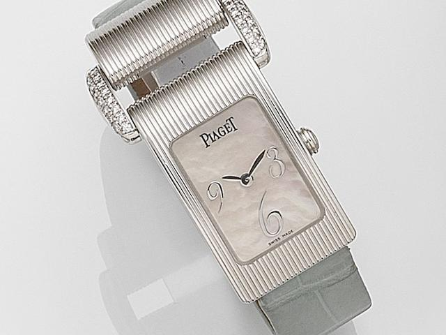 Piaget. A lady's 18ct white gold and diamond set quartz wristwatch Miss Protocole, Ref:5322, Case No.889954, Circa 2010