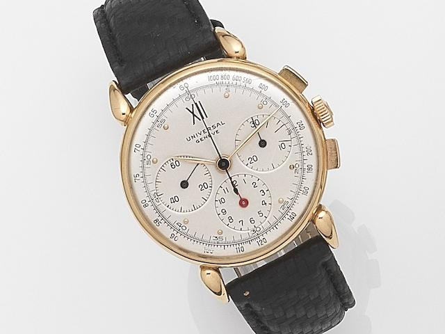 Universal. An 18ct gold manual wind chronograph wristwatch Ref:12247, Case No.1128556, Movement No.251443, Circa 1950