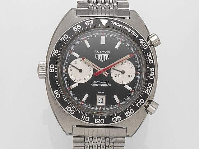 Heuer. A stainless steel manual wind bracelet watch Autavia, Ref:1163V, Case No.339563, Circa 1972