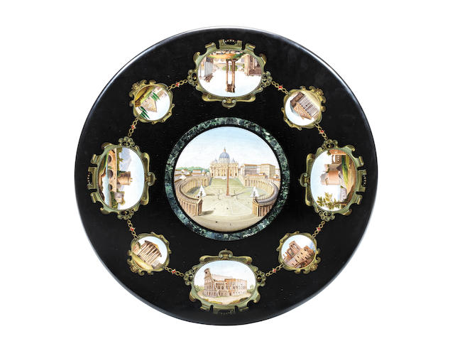 A Roman mid-19th century micromosaic circular table top inset into a carved giltwood and gesso base possibly by the workshop of Michelangelo Barberi (1787-1867)