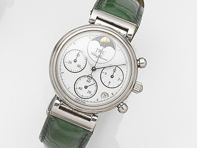 IWC. A lady's stainless steel quartz calendar chronograph wristwatch with moonphase  Da Vinci, Ref:3735, Case No.2586884, Movement No.2682573, Circa 1990