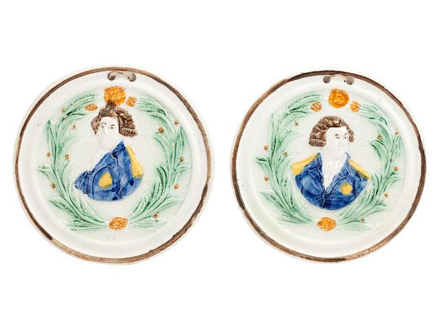 A Pair of Staffordshire Prattware circular plaques, Circa 1790