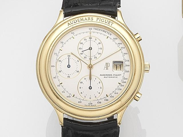 Audemars Piguet. An 18ct gold automatic calendar chronograph wristwatch Huitieme, Case No.C41502, Movement No.245455, Sold 15th June 1988