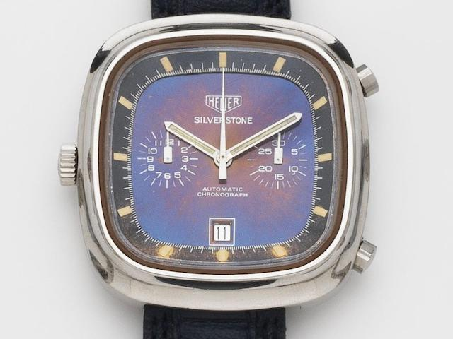 Heuer. A stainless steel automatic calendar chronograph wristwatch with colour change dial Silverstone, Case No.309623, Circa 1974