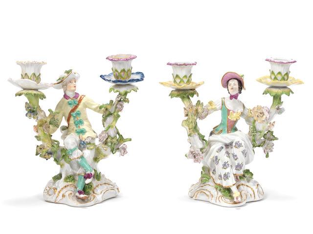 Two Meissen figural candelabra, circa 1750-60