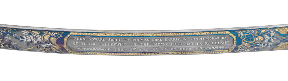 A Very Fine And Rare Presentation Sabre From Edward Solly To Thomas Harris In Commemoration Of Their Fellowship At The Memorable Battle Of Leipzig