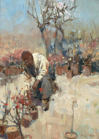Sir Frank Brangwyn, RA (British, 1867-1956) In a garden, Galata, Constantinople
