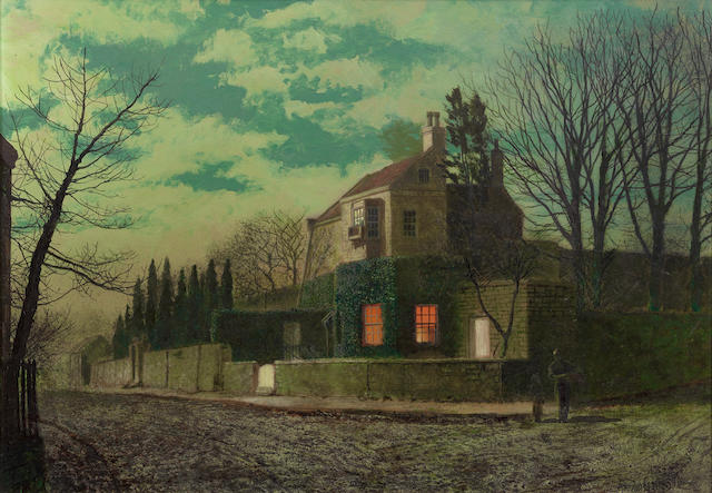 John Atkinson Grimshaw (British, 1836-1893) Yew Court, Scalby by Twilight
