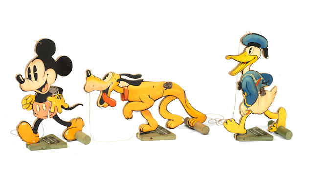 Three Chad Valley Mickey Mouse, Pluto and Donald Duck Walk-Away Toys, English 1930s 3
