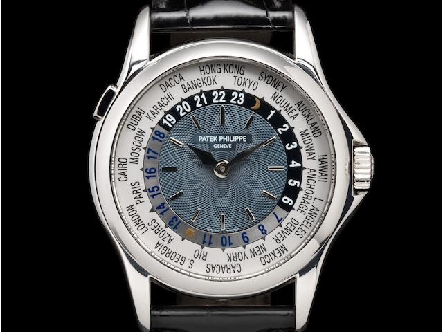 Patek Philippe. A platinum automatic world time wristwatch with box and extract of archives  Ref:5110P, Case No.4191700, Movement No.3210239, Sold 21st November 2002
