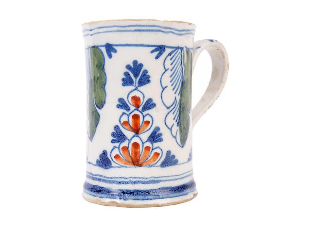 An English Delftware mug, circa 1750