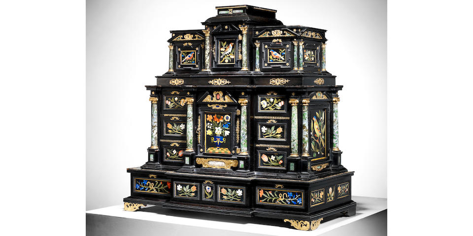 Rare museum-quality Augsburg 'kunstkammer' cabinet with Florentine pietre dure panels to go under the hammer