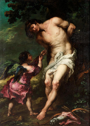 Circle of Juan de Valdes Léal (Seville 1622-1690) Saint Sebastian tended by an angel