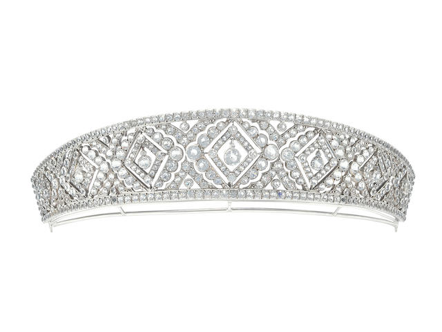 A Kokoshnik colourless paste tiara,