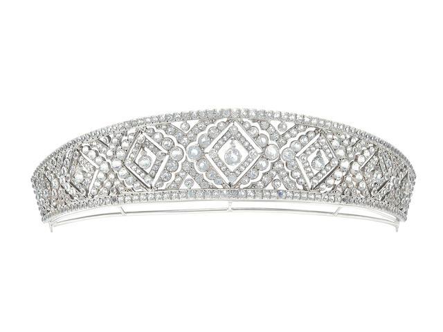 A Kokoshnik colourless paste tiara,