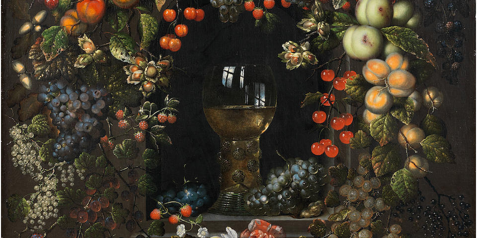 Ottmar Elliger the Elder (Gothenburg 1633-1679 Berlin) A roemer in a garland of fruit and flowers