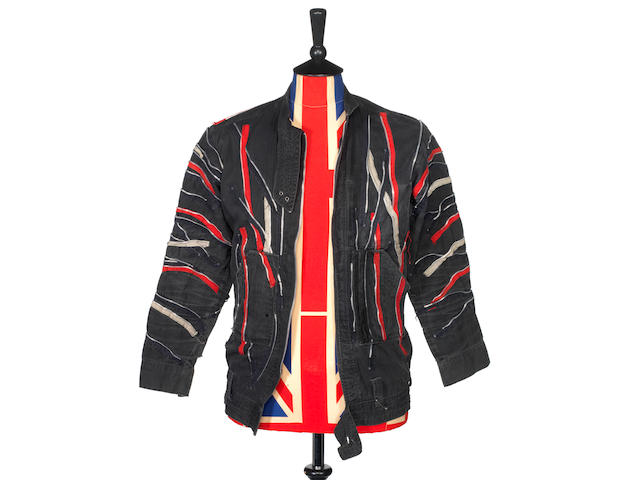 Joe Strummer/The Clash: A bespoke black cotton  biker jacket with multi zip detail worn by Joe Strummer,  1977-1979,