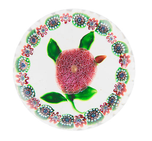 A Baccarat garlanded pink camomile paperweight, circa 1850