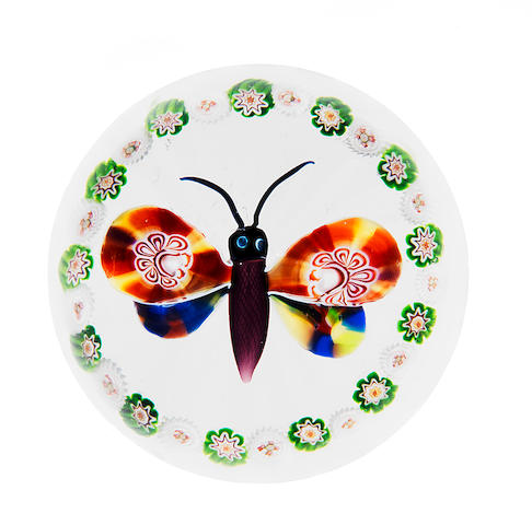 A Baccarat garlanded butterfly paperweight, circa 1850