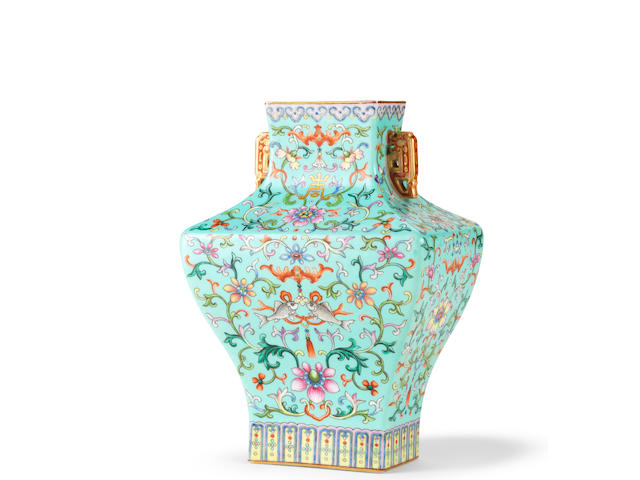An imperial famille rose turquoise-ground vase  Qianlong seal mark and of the period