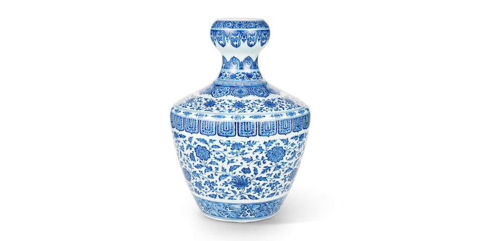 A RARE AND IMPORTANT BLUE AND WHITE GARLIC-MOUTH VASE FETCHES HK$ 76,280,000 (£6.2m) ($9.8m)TO LEAD FINE CHINESE CERAMICS AND WORKS OF ART AUCTION AT BONHAMS HONG KONG