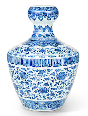 A rare and important blue and white garlic-mouth vase Yongzheng seal mark and of the period (2)