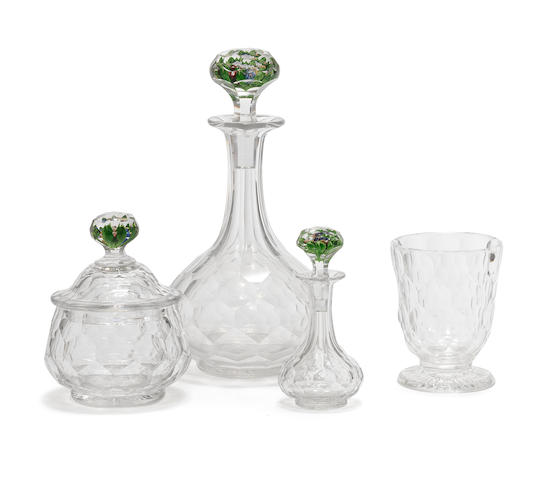 A St. Louis verres d'eau or water set with upright bouquet stoppers, circa 1850