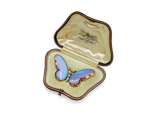 A diamond and emerald butterfly brooch, retailed by Mappin Brothers, circa 1911