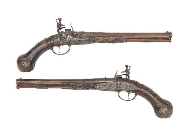 A Very Fine And Rare Pair Of Dutch 20-Bore Flintlock Holster Pistols