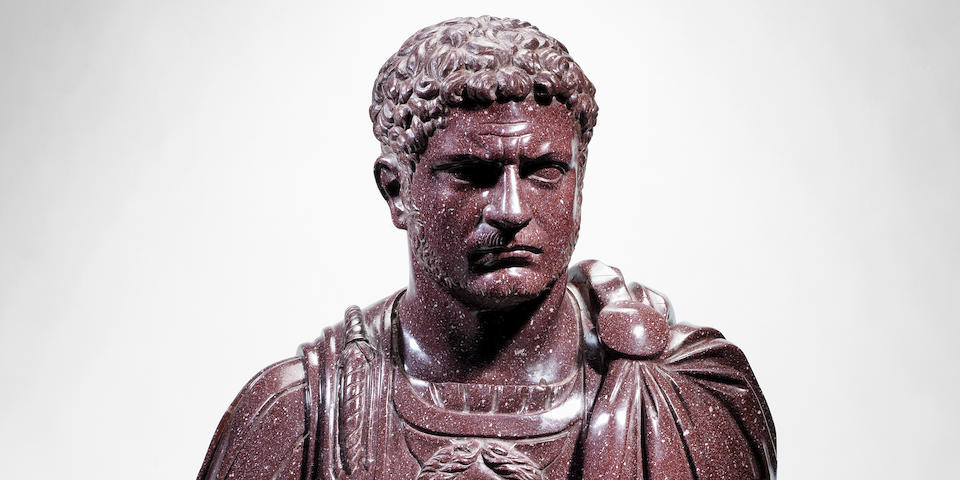 An Italian red porphyry bust of the emperor Caracalla after the Antique