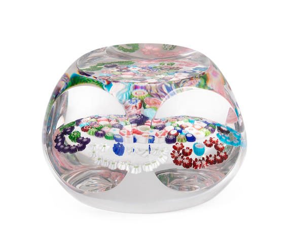 A Clichy faceted patterned millefiori paperweight, circa 1850