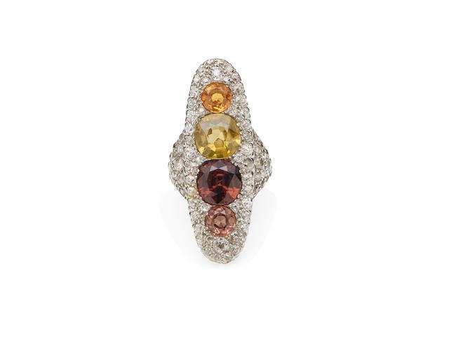 An Edwardian multi-coloured zircon and diamond dress ring, circa 1910