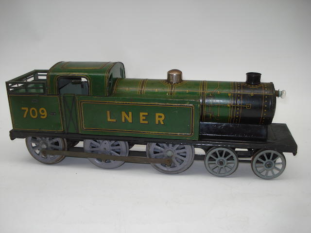 Gunthermann tinplate c/w LNER 4-6-0T 709 Floor Train, German circa 1925