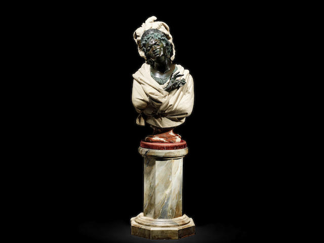 "A life-size 20th century patinated resin and composition bust of Selika  by repute used in the film ""Futures Vedettes"""
