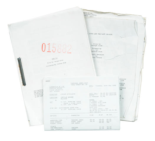 Indiana Jones and the Last Crusade: two revised scripts and call sheets, Paramount, 1989, 7