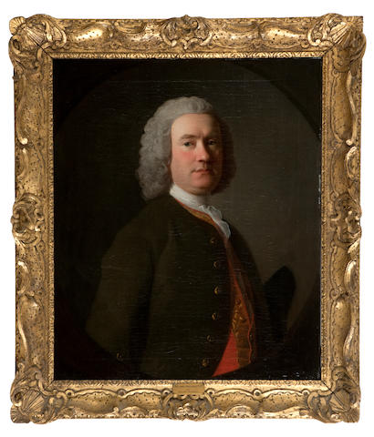 Allan Ramsay (Edinburgh 1713-1784 Dover) Portrait of Sir James Sinclair, 5th Baronet,  half-length, wearing a green coat and a red waistcoat, within a painted oval 76 x 63.5 cm. (29 15/16 x 25 in.) Painted circa 1750