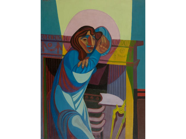 Robert MacBryde (British, 1913-1966) Woman by a Fireplace, No 2 105 x 79 cm. (41 5/16 x 31 1/8 in.)
