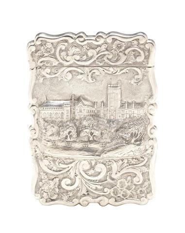 An unusual Victorian silver 'castle-top' card case by Frederick Marson, Birmingham 1871