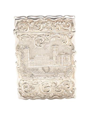 An unusual Victorian silver 'castle-top' card case by Aston & Son, Birmingham 1857