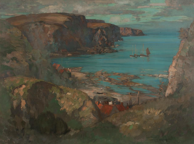 James Whitelaw Hamilton RSA RSW (British, 1860-1932) Burnmouth 76.5 x 102.5 cm. (30 1/8 x 40 3/8 in.)