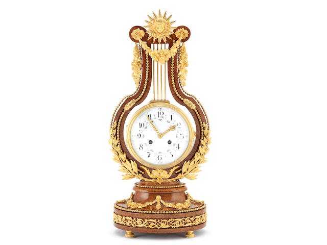 A fine and rare late 19th century ormolu-mounted burr walnut lyre clock  Planchon, Paris