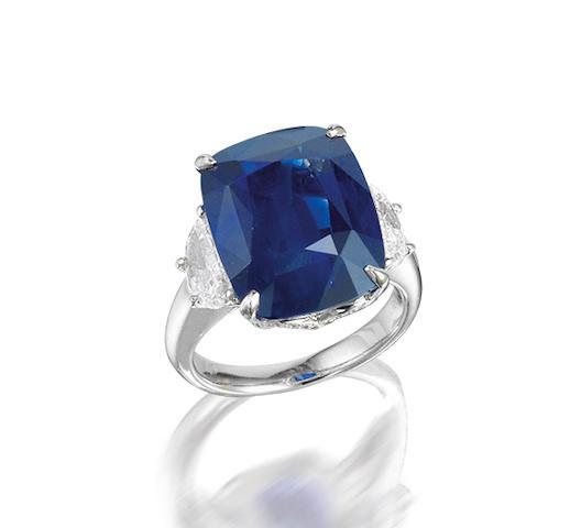 An impressive sapphire and diamond ring